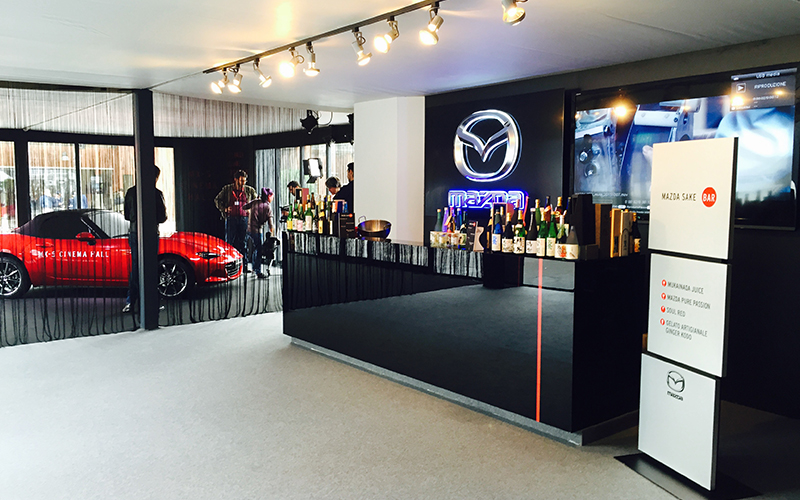 Vista interna dell'allestimento Mazda al Festival del Cinema a Roma