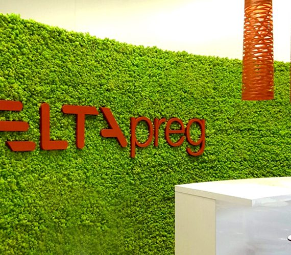 Parete verde retro reception Stand Delta Tech JEC Parigi 2015