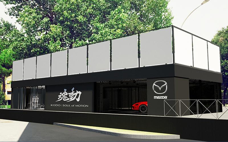 Render di progetto dell'allestimento temporaneo realizzato per Mazda per il Festival del Cinema a Roma