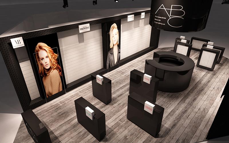 Render di progetto stand ABC-Elite Models per la fiera Cosmoprof a Bologna